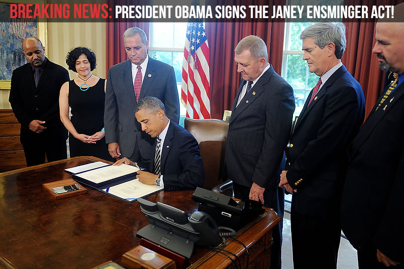 President Obama Signs the Janey Ensminger Act